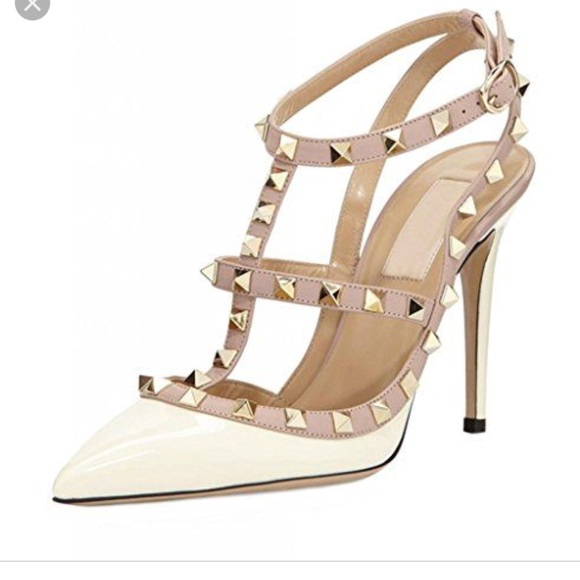 368e8c9276 BCBGeneration Shoes - White and Gold Dupes of Valentino Rockstud Heels